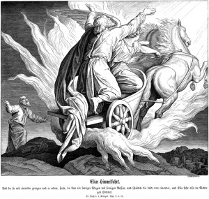 Julius Schnorr von Carolsfeld's (1794-1872) depiction of Elijah being taken to heaven in a chariot of fire as Elisha looks on.