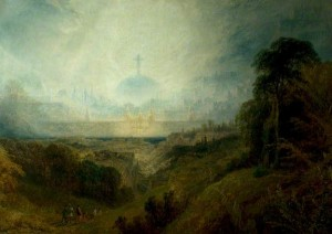 Pilgrims in Sight of the Celestial City by Henry Dawson, via the BBC
