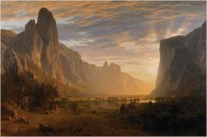 """""""Looking Down Yosemite Valley"""", dated 1865, by Albert Bierstadt (1830-1902)."""