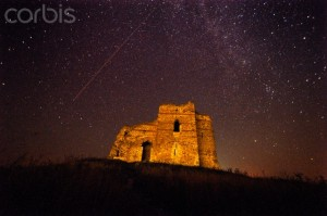 Stars trail across the sky over the Roman castle Bukelon. Image by Vassil Donev, via Corbis Images