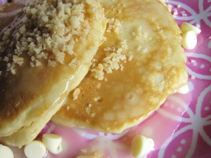 Macadamia-Coconut-White Chocolate Pancakes