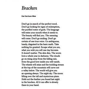 "an image of the poem ""bracken"" by virginia ortellano"
