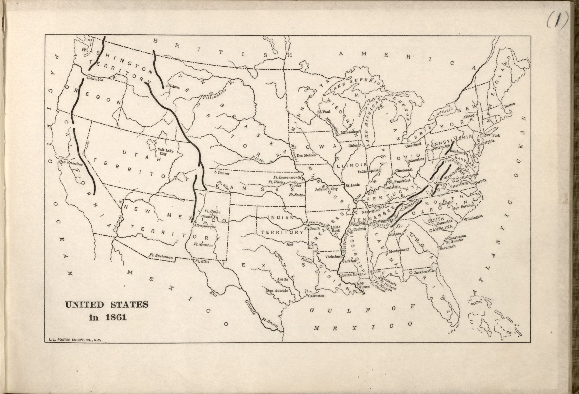 Map of the U.S. in 1861 – Historical Maps Collection